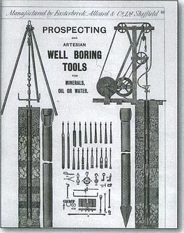 A page from one of the firm's early brochures showing some of the prospecting and well-boring tools they manufactured.